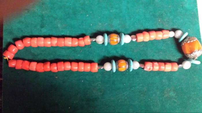 Chinese antique Tibetan coral jadenecklace