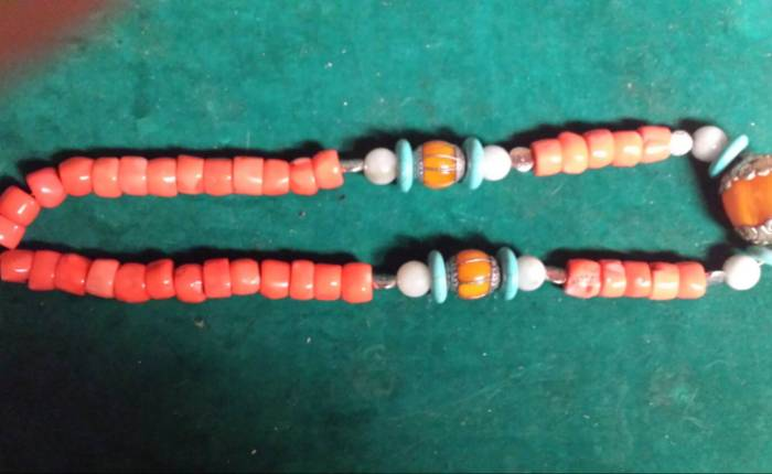 Chinese antique Tibetan coral jade necklace