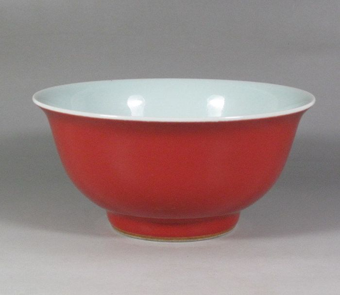 Chinese antique Qing Dynasty powder redbowl